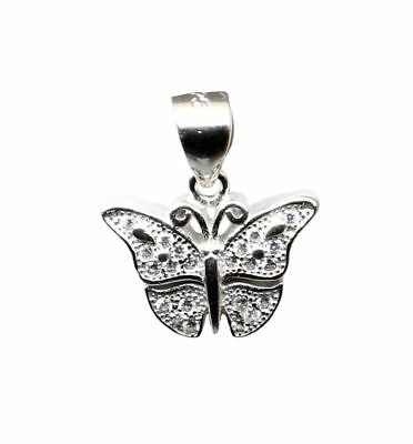 Butterfly Pure 925 Sterling Silver Pendant CZ  Platinum Finish for Girl