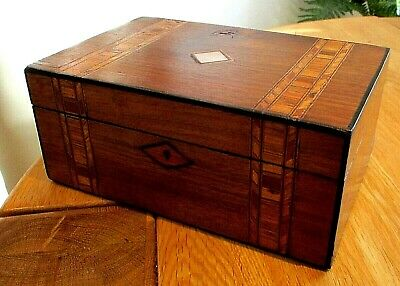 Victorian Walnut Veneer Sewing/jewellery Box,inlay Bands,red Lined Interior.