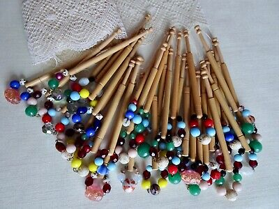 Thirty-Three (33) Plain Turned Wood Lace Maker's Bobbins Suitable For Beginners