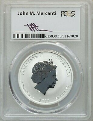 2017 P 50C Silver Australia Year of the Rooster PCGS MS70 First Strike Mercanti