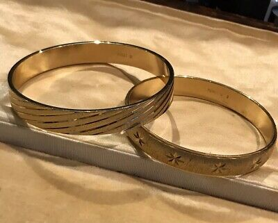 Vintage Monet Signed Gold Tone Bangles Two
