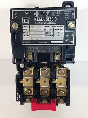 SQUARE D 8536SB02A SERIES A MOTOR STARTER WITH// 31041-400-42 120V COIL 8536 SB02