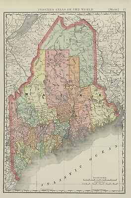 1893 Rand McNally & Co., Maine (Original Antique Map, Printed Color)