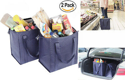 2 Large HEAVY DUTY Grocery Bag Shopping Bags Tote Thermo Insulated Lunch Bag 15""