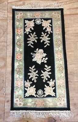 Vintage Chinese Silk Hand Woven floral design Rug