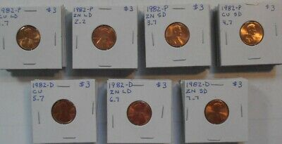 Complete BU Set - 1982 P/D, Zinc/Copper, Small/Large Date Lincoln Cents