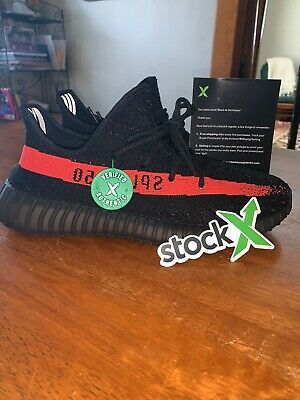 092483d5610d3b Adidas YEEZY Boost 350 V2 Core Black Red Stripe Size 10 Stock X Certified