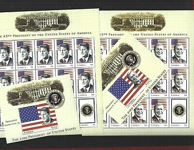 LIBERIA  (2009) Presidents Bush & Gore Sheets of 15 MNH