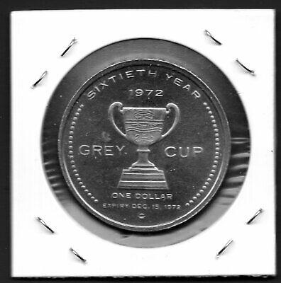 """1972 -  """"60th Anniversary of Canadian Football GREY CUP""""  One Dollar Coin."""