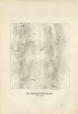 1896 NORTHERN MILKY WAY GALAXY ORION CASSIOPEIA CONSTELLATIONS Map Print W.Meyer