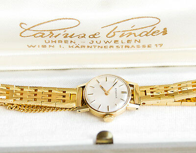 ETERNA LADY 14K SOLID GOLD MANUAL WIND VINTAGE WATCH WITH 2 BANDS & BOX ca. 1960