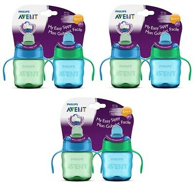 Philips Avent My Easy Sippy Cup, 6m+ 7 Oz, 2 Ct Blue/Green SCF551/22 (Pack of 3)