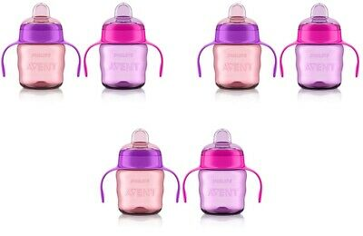 Philips Avent My Easy Sippy Cup, 6m+ 7 Oz, 2 Ct Pink/Purple SCF551/22 (3 Pack)