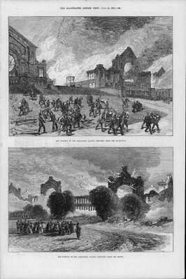 1873 Antique Print - LONDON Alexandra Palace Great Fire Paintings Artworks  (06)
