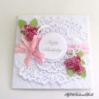 Romantic Vintage Style Handmade Birthday Card Featuring Pink Roses Lace Ribbon