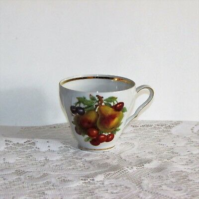 Old Nuremberg Vintage Coffee Cup Teacup Pear Gooseberry Fruit Bavaria Germany