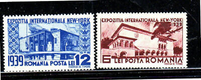 ROMANIA #489-490  1939  NEW YORK WORLD FAIR     MINT VF LH O.G  a