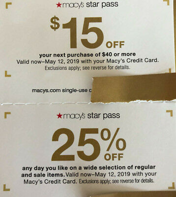 2 Macy's Star Rewards: 25% off (15% on some);$15 off $40 purchase; til 5/12/2019