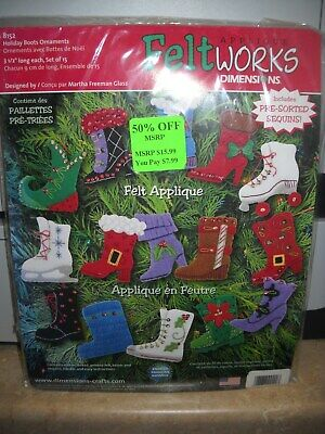 Dimensions 'Feltworks' Applique Ornaments Kit - Holiday Boots - Unopened