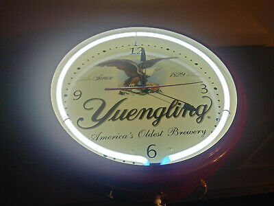 """Yuengling Brewery Neon Clock Lager Beer 20"""" Man Cave Bar Game Room"""