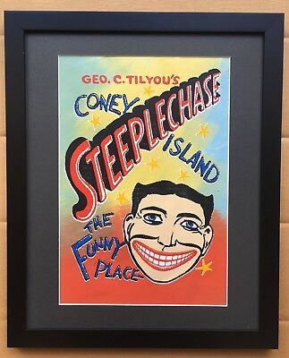 Steve Kaufman Coney Island Ny Steeplechase Original Limited Hand Painted Signed