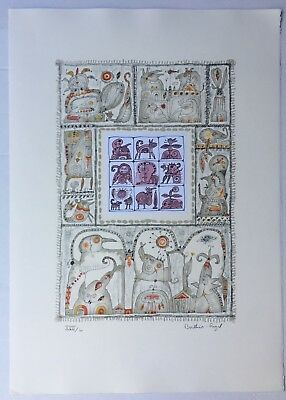 Berthois Rigal Signed Surreal French Artist Limited Ed Lithograph & Collage