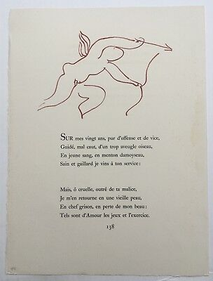 Henri Matisse 1948 Original Limited Lithograph Arches Paper Mourlot Paris Cupid