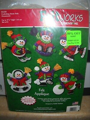 Dimensions 'Feltworks' Applique Ornaments Kit - Frolicking Snow Pals - Unopened
