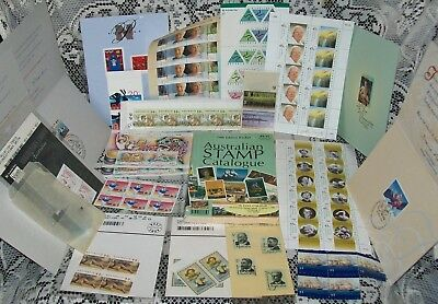 MIXED LOT OF UNUSED SETS/SINGLES & USED AUSTRALIAN STAMPS + guide, mostly 1990s