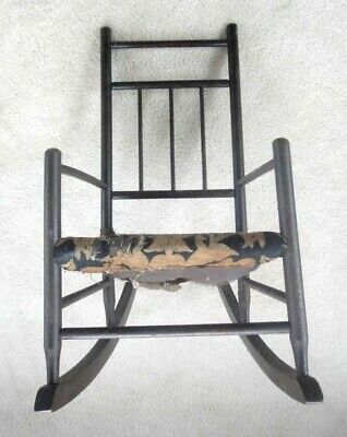 18th-19th C antique EARLY WOOD CHILD / DOLL ROCKER CHAIR w/OLD FABRIC