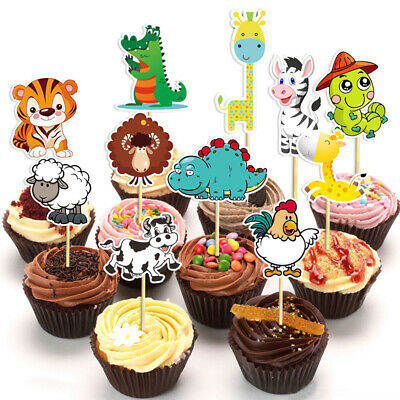 Party Favors Birthday Cupcake Toppers Safari Jungle Animal Picks Cake Decor
