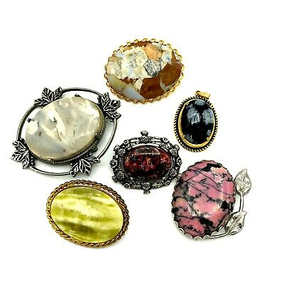 Stone Glass Cameo Brooch Multi-Color Sizes Mix Metals Pendant