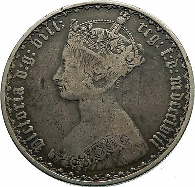 1858 UK Great Britain United Kingdom QUEEN VICTORIA Florin Silver Coin i76016