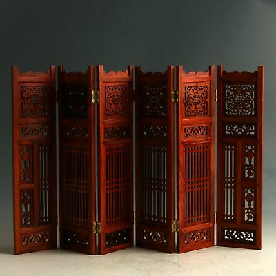 Chinese Wood Hand Carved Exquisite Hollow Out Screen