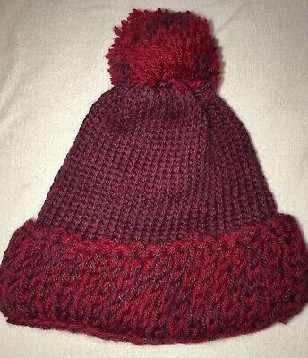 964226b133eef womens red PURPLE THICK KNIT WINTER HAT one size fits most POM POM warm  nice