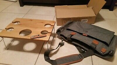 Insulated Cooler Bag with Bamboo Wine Table Portable Wine Carrier Bag Picnic NEW