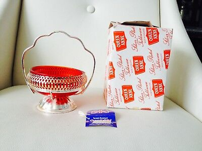Vintage Queen Anne Silver Plated Sugar Jam Bowl In Box England