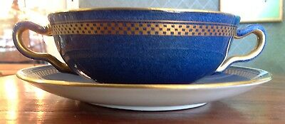Ten Wedgwood Bouillon Bowl Saucer Gorgeous Blue And Gold!