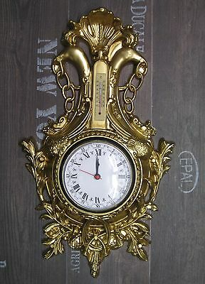 Wall Clock Swan in Gold with Thermometer Antique Look 38x65cm