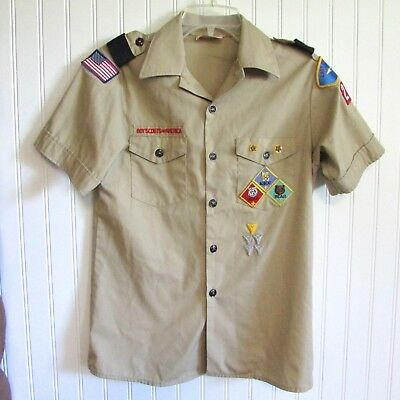 Vintage Boy Scouts of America Tan Shirt Size 16 With Patches BSA Emblems Youth