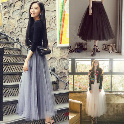 AU Multi Layers Long Womens Tulle Net Skirt Princess Lace Skirt Party Skirt 98CM