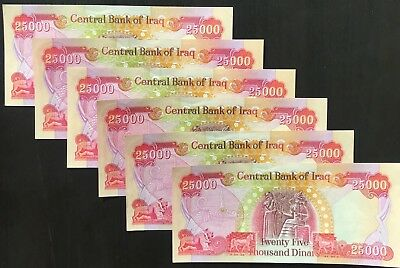 150,000 IRAQI DINAR - (6) 25,000 Uncirculated Notes - Authentic - Fast Delivery