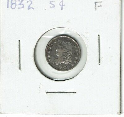 1832 Capped Bust Silver Half Dime 5C scratches reverse F