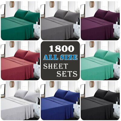 1800TC 4 Pieces Ultra SOFT Bed Linen Sheets Sets For Single/KS/Double/Queen/King