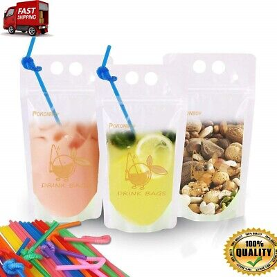 f7e71cba50af 100 PCS DRINK Pouches Bags Food Storage Reusable Snack 100 Drink Straws BPA  free