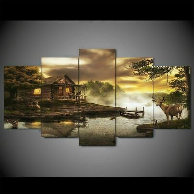 Framed Home Decor Nature Sunset Deer Scenery Canvas Print Painting Wall Art 5PCS