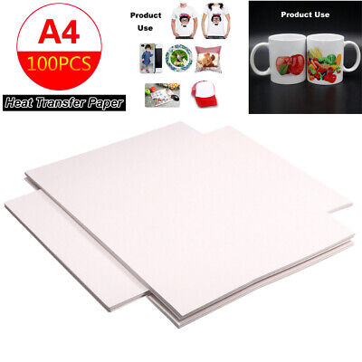 100 Sheets A4 Sublimation Heat Transfer Paper for Polyester Cotton T-Shirt US