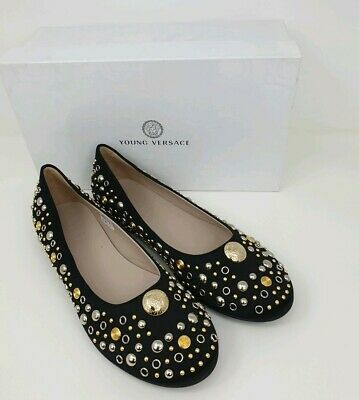 036b99f2e44 Young Versace Black Pumps Ballet Shoes with Gold   Silver Studs UK 6 EU 39