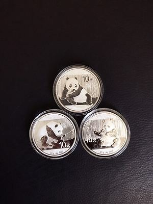 2015 2016 2017 China 3 Panda Silver Coins Lot 1 Oz 30 Gram 10 Yuan Mint #8