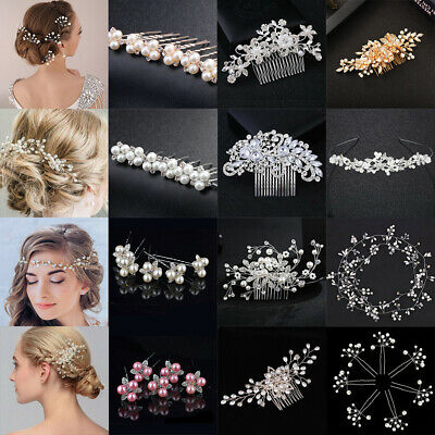 Flower Wedding Hair Pins Comb Bridal Clips Crystal Pearl Bridesmaid Accessories
